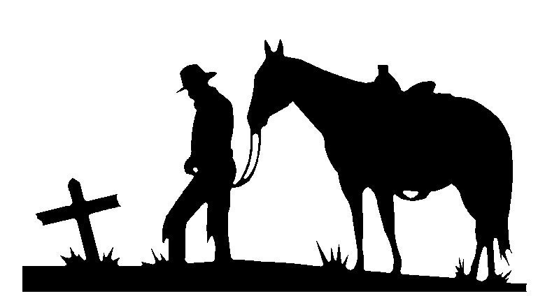 Cowboy And Horse Praying At Cross Dxf Cnc Plasma Laser