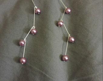Purple zigzag dangling earrings