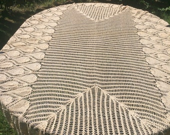 Vintage handmade crochet lace large tablecloth
