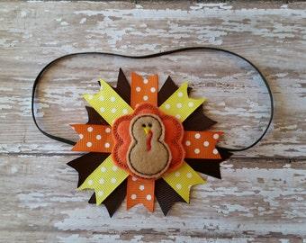 Thanksgiving turkey fall headband bow