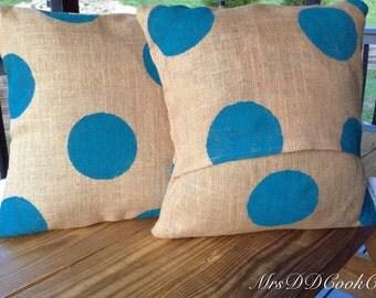 Polka Dot Burlap Pillows, Burlap Pillow, Monogram Burlap Pillow, Rustic Pillow, Throw Pillow, Chevron Burlap Pillows, Custom Pillow