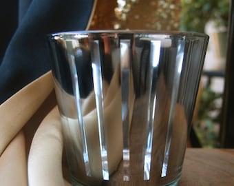 Stripe Votive Tea Light Glass Candle Holder - Silver (2.5 Inches) (6 PACK) - TLSTP-SV6