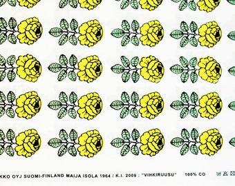 Marimekko fabric, yellow/white Vihkiruusu 145x50cm by Maija Isola