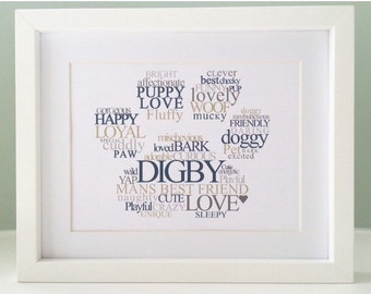 PAW PRINT Personalised Word Art Print - Pet / Puppy / Dog / Cat Gift (inc p&p)