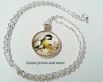 Bird Necklace, Yellow Bird  Necklace, Nature Necklace, Glass Necklace