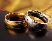 """The Hobbit & Lord of the Rings """"One Ring to Rule Them All"""" 18k Gold or Stainless Steel Ring"""