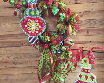 Christmas flag Hanger, Christmas wreath , Christmas ornament, Christmas decor