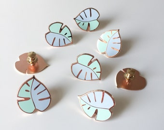 Minty Monstera enamel pin / blue and mint enamel pin / leaf enamel pin / plant pin / hard enamel pin / monstera badge