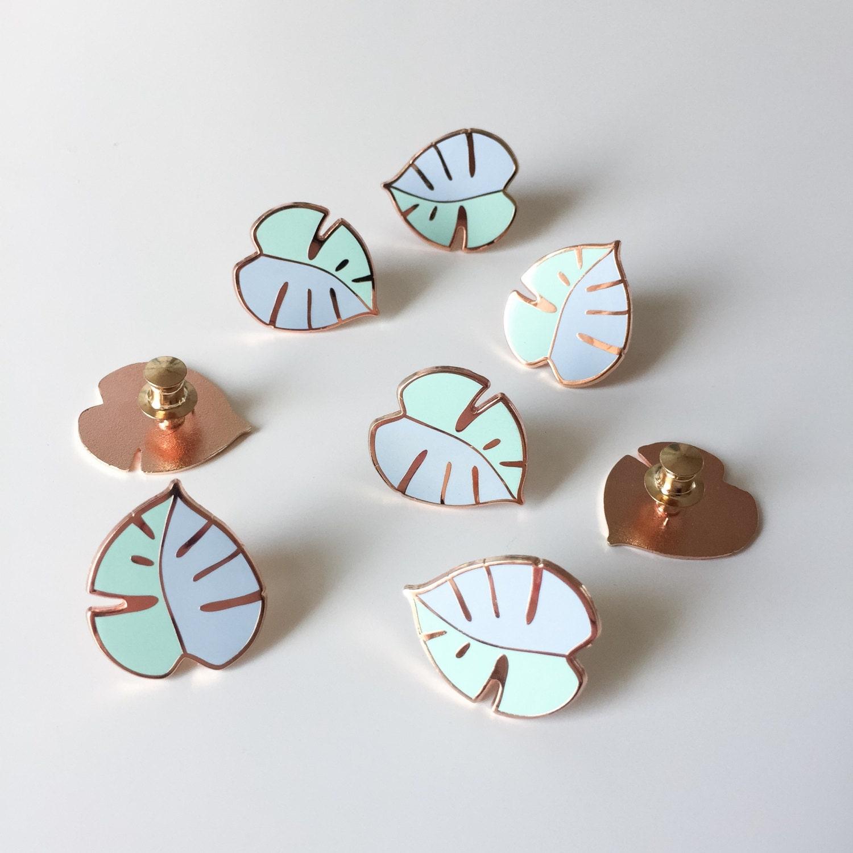 Minty Monstera enamel pin / blue and mint enamel pin / leaf