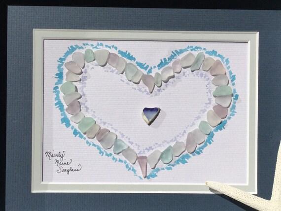 Wedding Gift Glass Painting : ... Glass Art, Shadow Box Art, Framed Art, Sea Glass Decor, Wedding Gift