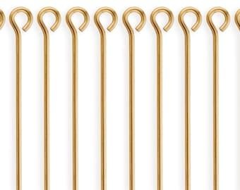10 Pcs 1.5 Inch 24ga 14K Gold Filled Eye Pins (GF24G15EYP)