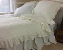White Linen ruffle duvet cover, linen bedding, ruffle bedding, shabby chic, available queen linen king linen bedding