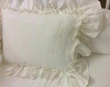 Vintage Ruffle pillow covers, accented linen euro pillow sham covers,  12x16, 16x16, 18x18, 20x20, 24x24, 26x26 or custom size