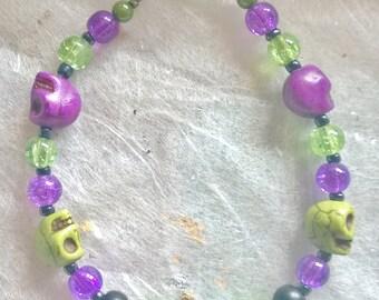 Skull Bracelet - Black, Green and Purple