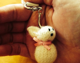 KEYRING, cute gift,  LUCKY charm, Cuddly toy, French handmade cuddly toy, Bunny, Handknitted plush, Keychain, Cadeau, Porte-clés