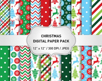 "Christmas digital paper: ""CHRISTMAS PAPERS"" with Deers, Snowflakes, Christmas Trees, Christmas Background, Snowflake Papers"