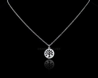 Sterling Silver Tree Of Life Charm Necklace