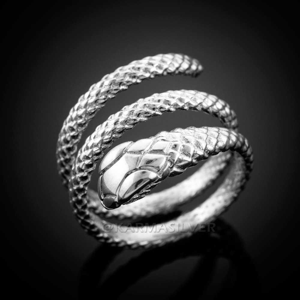 silver snake ring sterling silver coiled snake ring