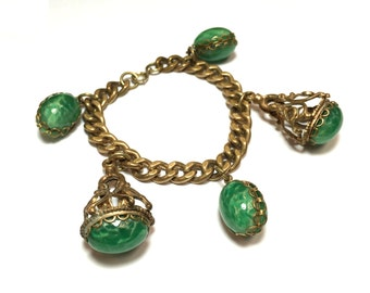 50s Green Peking Glass Charm Bracelet