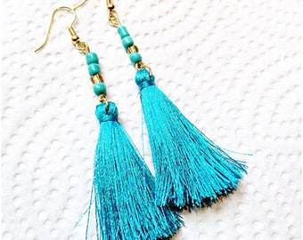 Tassel Earrings, aquamarine turquoise color earrings, boho-chic