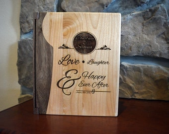 Custom Personalized Wedding Photo Album In Walnut and Maple or Rosewood and Maple, Love Laughter & Happy Ever After