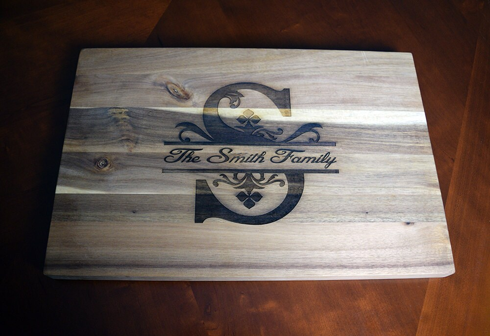 laser engraved cutting board with family name and monogram, / x, Kitchen design