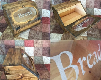 Rustic Primative Wooden Bread Box, Bin, Country, Farmhouse, Kitchen Counter top Storage