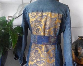 Longline belted denim jacket with gold satin trim