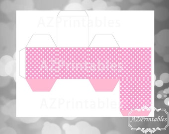 printable favor box, white polka dots, pink, polka dots, light pink, Minnie Mouse, theme,simple, diy, instant downlaod