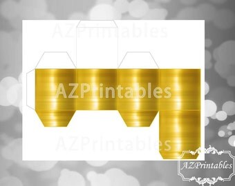 Printable, favor box, Metal look, gold, golden, digital, instant download, party, gift box, 2.5inches, small, JPEG, 300dpi, theme