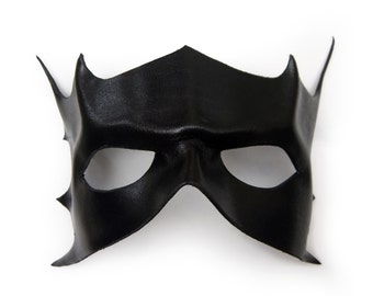 Leather black hero villain mask