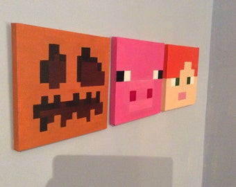 Minecraft 3 piece set - (Pumpkin, Pig, Alex)