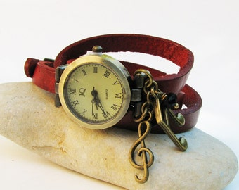Music charms wrap leather women's watch so musical
