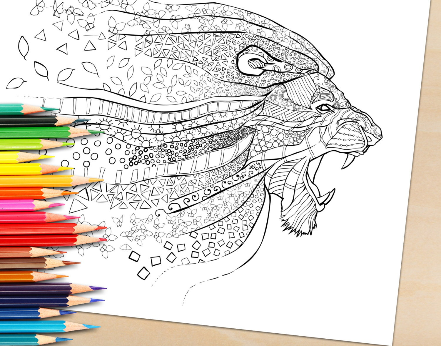 Coloring book for adults lion -  Book For Adults Lion Art Colouring Page Zoom