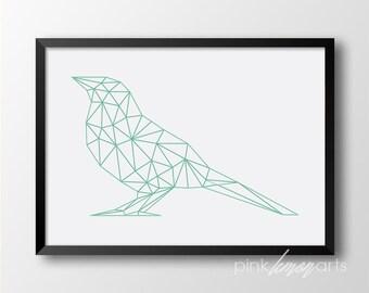 Turquoise geometric bird, Geometric print, Printable wall art, Scandinavian, Mint decor 269
