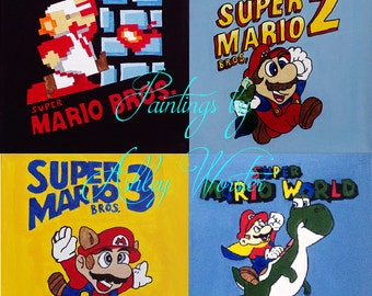 "Mario Paintings (8x8"" PRINTS)"