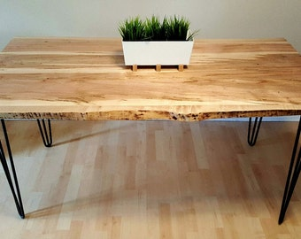Live Edge Wormy Maple Dining Table