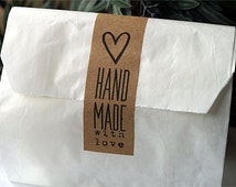 Handmade With Love Stickers - Handmade With Love Labels - Shop Supplies - Gift Wrapping - Gift Packaging - Gift Stickers - Product Stickers