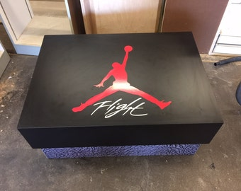 Custom Giant Jordan Flight Shoe Storage Box with Red Velvet Interior
