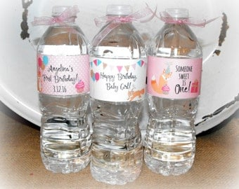 First Birthday Water Bottle Labels, Printable Water Bottle Labels, Baby's First Birthday Favors, Baby Girl