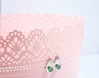 Gemstone Leaf Drop Earrings - Handmade Sterling Silver - Gemstone Jewellery - Jewelry - Gifts for Her - Nature Inspired - Leaf Print
