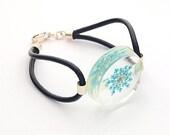 Resin bracelet, Leather bracelet, Blue flower bracelet, Silver bracelet, Blue bracelet, Blue queen Ann's flower bracelet, Resin jewelry