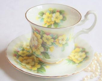 Vintage Royal Albert Bone China Cup and Saucer, Yellow Primrose Decor, Lady Size