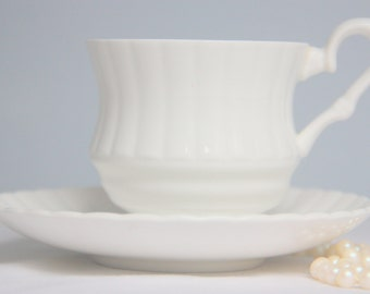 Vintage Royal Stafford Bone China White Cup and Saucer