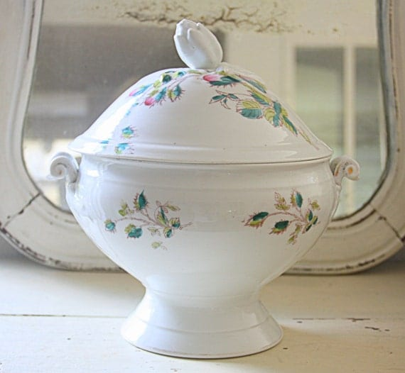 Vintage Large French Tureen with Lid, Moss Rose Decor