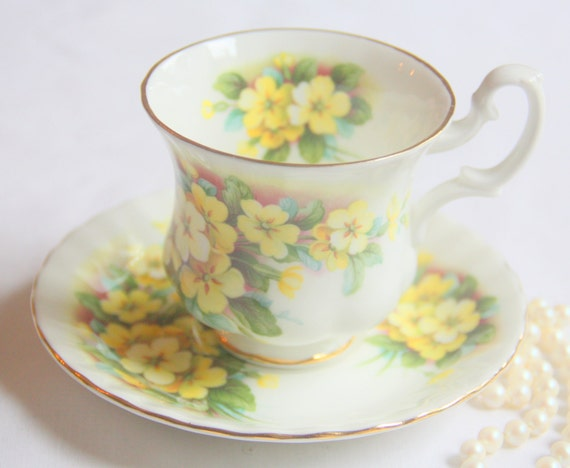 Vintage Royal Albert Bone China Cup and Saucer, Yellow Primrose Decor, Lady Size