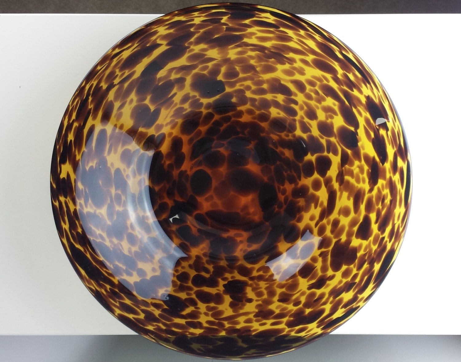Large Leopard Amber Glass Bowl Leopard Blown Glass By