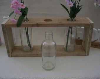 Eco Friendly Reclaimed Wood Triple Glass Bottle Vase Centrepiece
