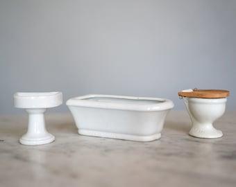 Vintage Miniature Bathroom Furniture | Dollhouse set | Ceramic Bathroom Set | Miniature Sink | Antique Dollhouse