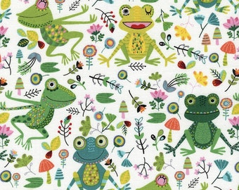 Happy Frogs on White by the Half Yard